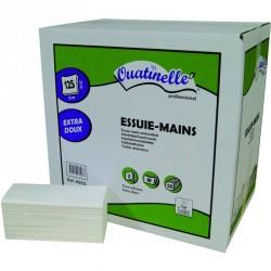 3750 Essuie-mains lisse pliés en W blanc 2x19g/m² - 2 plis - 22x34cm - H253L