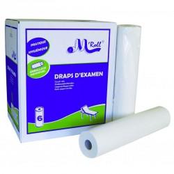 Draps d'examen standard ouate gaufrée collée 2x19.5g/m² - Carton de 6 rouleaux - 2 plis - 185 formats - 50x35cm - J337PMR