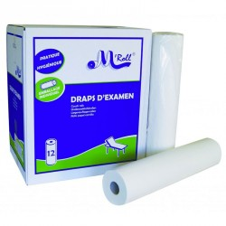 Draps d'examen ouate blanc 2x18g/m5515064 - Carton de 12 rouleaux - 2 plis - 135 formats 50x35cm - J218LMR