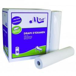 Draps d'examen point à point pure ouate 2x17.5g/m² - Carton de 9 rouleaux - 2 plis - 135 formats 50x35cm - J226PMR