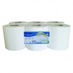 Essuie-mains gaufré collés ouate 2x17.5g/m² - Carton de 6 rouleaux - Dévidage centrale - 2 plis - 450 formats 20x25cm - H713POT